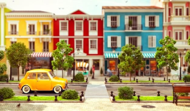 Süßes kleines auto fährt in einer wunderschönen europäischen stadt durch die straße