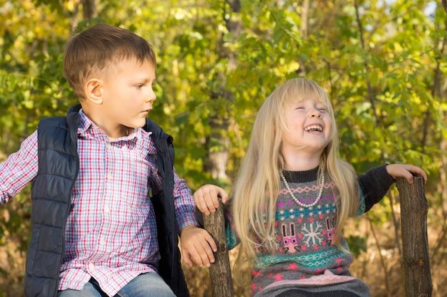 Süßes kleines mädchen, das fröhlich lachend von einem hübschen kleinen jungen mit einem ausdruck der bestürzung beobachtet wird, während sie seite an seite auf einem alten rustikalen zaun im wald sitzen?