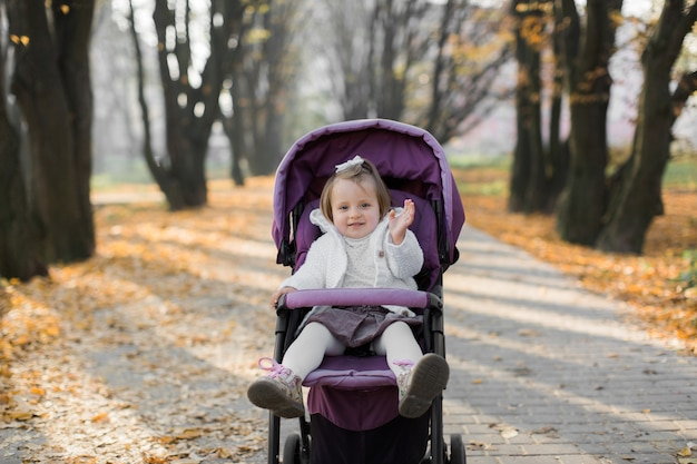 Süßes kleines mädchen, das im lila kinderwagen sitzt