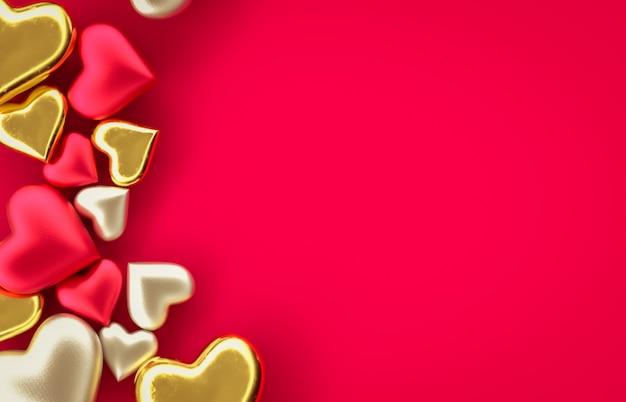 Süßes rotes herz der süßigkeit des valentinstags auf lokalisiertem hintergrund. liebeskonzept. roter hintergrund. draufsicht. 3d rendern.