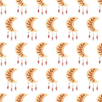 Süßes träumendes boho-mond-aquarell nahtloses muster kann für t-shirt-druck-kindergarten-modedesign verwendet werden used