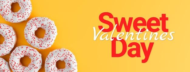Süßes valentinstagkonzept, donuts mit herzfahne