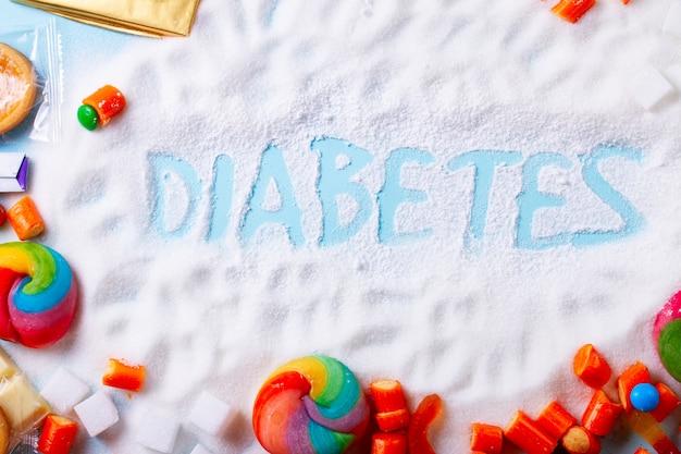 Süßigkeiten mit zucker, flacher rahmen mit wort diabetes
