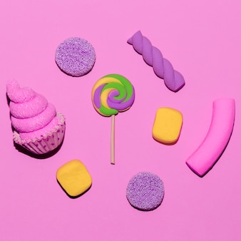 Süßigkeiten süßes set. candy mood flatlay-kunst