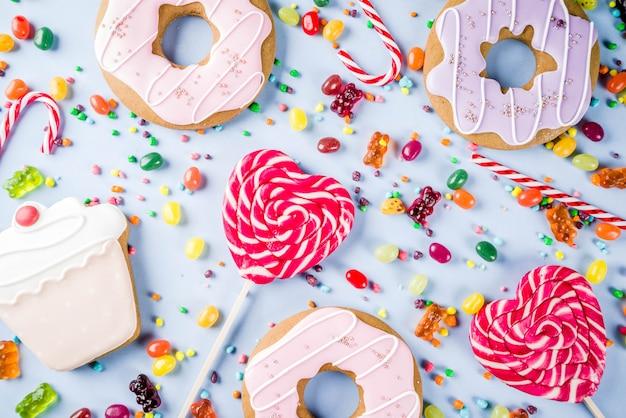 Süßigkeiten und süßigkeiten kreativ auslegen