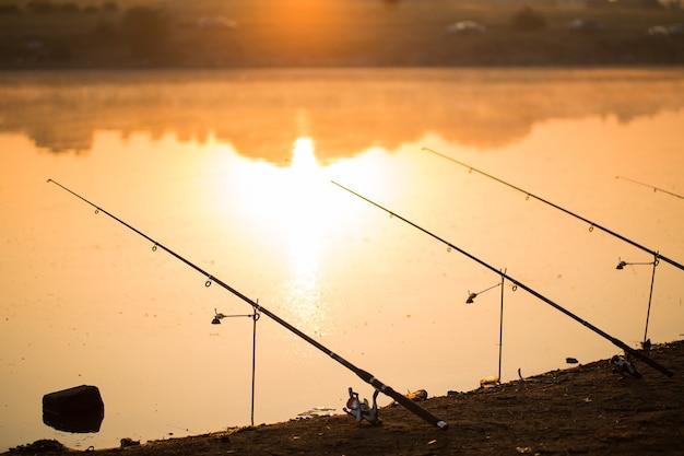 Süßwasserfischen mit angelruten am ufer des teiches, see