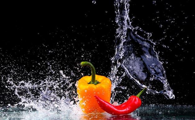 Süßwasserspritzer bunter paprika
