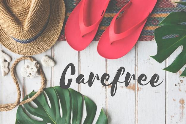 Summer break lifestyle flipflop vacatoin words konzept