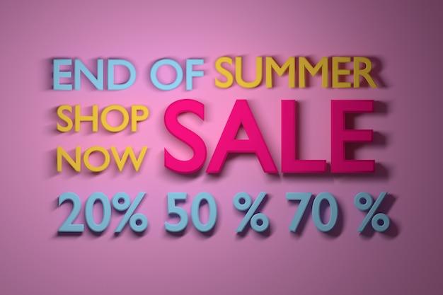 Summer sale banner mit großen prozentzahlen in lebendigen.