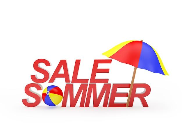Summer sale text mit sonnenschirm