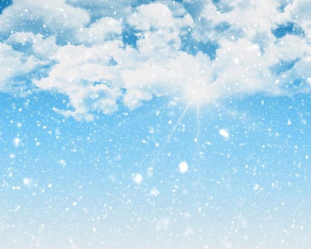 Sunny blauer himmel hintergrund mit schneesturm schnee