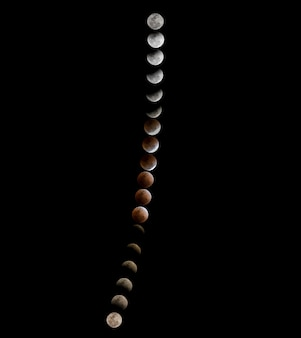 Super blue blood moon, totale mondfinsternis und trail-phasenstapel