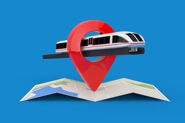 Super high speed futuristischer pendlerzug über gefaltete abstrakte navigationskarte mit ziel-pin-zeiger auf blauem hintergrund. 3d-rendering