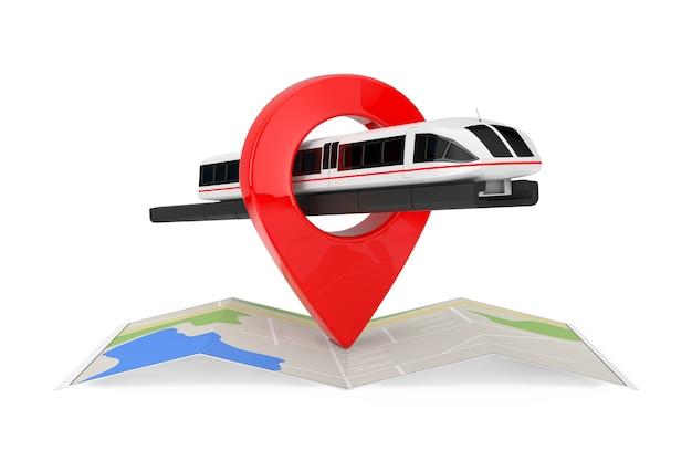 Super high speed futuristischer pendlerzug über gefaltete abstrakte navigationskarte mit ziel-pin-zeiger auf weißem hintergrund. 3d-rendering