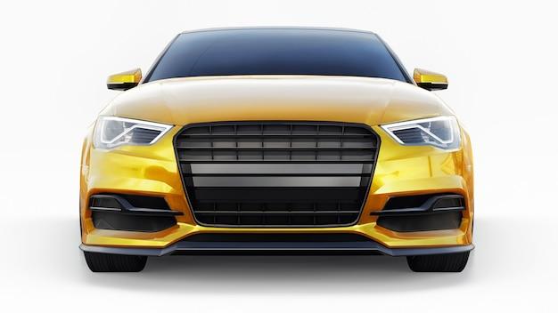 Super schnelle sportwagen gelbe farbe auf weißem hintergrund körperform limousine 3d-darstellung