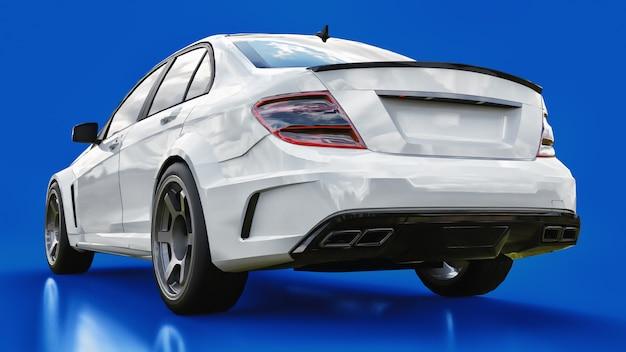 Super schnelles weißes sportauto auf einem blauen hintergrund. karosserieform limousine. tuning ist eine version eines gewöhnlichen familienautos