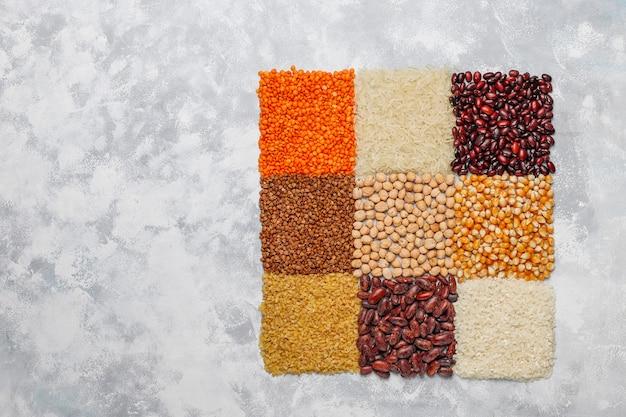 Superfoods, samen und getreide für veganes und vegetarisches essen. sauberes essen