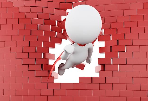 Superheld 3d, der durch gebrochene backsteinmauer fliegt