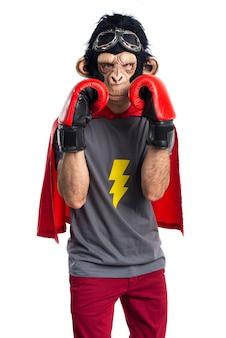 Superheld affe mann mit boxhandschuhen