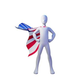 Superhelden-3d-rendering mit flagge der vereinigten staaten