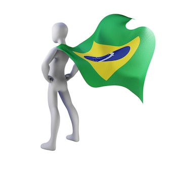 Superhelden 3d rendern mit brasilienumhang.