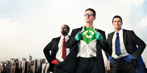 Superhelden-grünes geschäft bereiten erhaltungskonzept auf