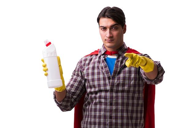 Superheldreiniger lokalisiert auf weiß