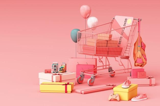 Supermarkt einkaufswagen umgeben von geschenkbox mit kreditkarte 3d-rendering