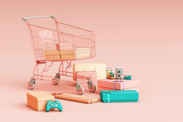 Supermarkt einkaufswagen umgibt durch geschenkbox 3d rendering