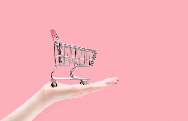 Supermarktwagen auf einer weiblichen handfläche auf rosa