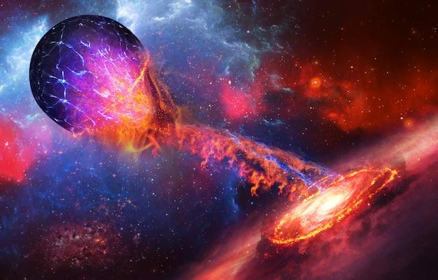 Supernova absorbiert blauen planeten auf weltraumhintergrund