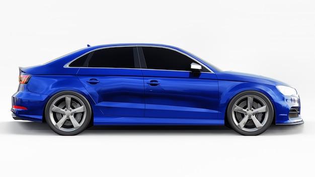 Superschnelle sportwagenfarbe blau metallic auf weißem hintergrund. limousine in körperform. tuning ist eine version eines gewöhnlichen familienautos. 3d-rendering.