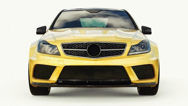 Superschnelle sportwagenfarbe gold metallic. karosserieform limousine. tuning ist eine version eines gewöhnlichen familienautos. 3d-rendering.