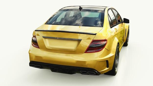 Superschnelle sportwagenfarbe goldmetallic auf weißem hintergrund. limousine in körperform. tuning ist eine version eines gewöhnlichen familienautos. 3d-rendering.