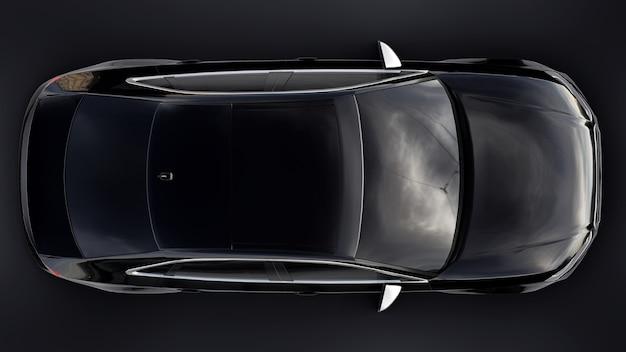 Superschnelle sportwagenfarbe schwarz metallic auf schwarzem grund. limousine in körperform. tuning ist eine version eines gewöhnlichen familienautos. 3d-rendering.