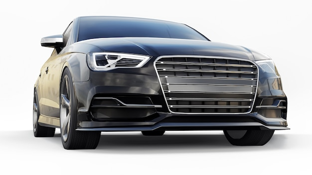 Superschnelle sportwagenfarbe schwarz metallic auf weißem hintergrund