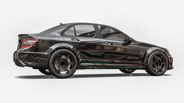 Superschneller sportwagen schwarze farbe auf weißem hintergrund. limousine in körperform. tuning ist eine version eines gewöhnlichen familienautos. 3d-rendering.
