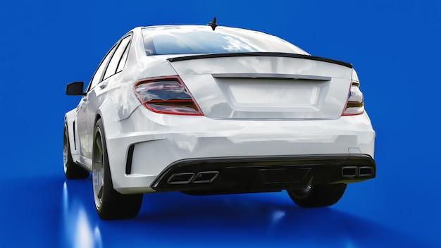 Superschneller weißer sportwagen auf blauem grund. limousine in körperform. tuning ist eine version eines gewöhnlichen familienautos. 3d-rendering.
