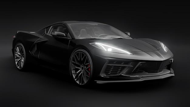 Supersportwagen auf schwarzem hintergrund. 3d-darstellung. Premium Fotos