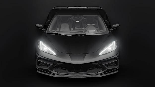 Supersportwagen auf schwarzem hintergrund. 3d-darstellung.