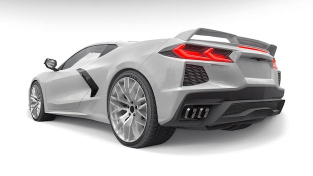 Supersportwagen auf weißem hintergrund. 3d-darstellung.
