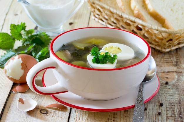 Suppe mit frischen brennnesseln, ei, fleisch und kartoffeln. frisches brennnesselblatt auf dem küchentisch ein rustikaler hintergrund.