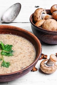 Suppe mit pilzen pürieren