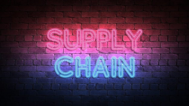 Supply chain leuchtreklame an einer wand