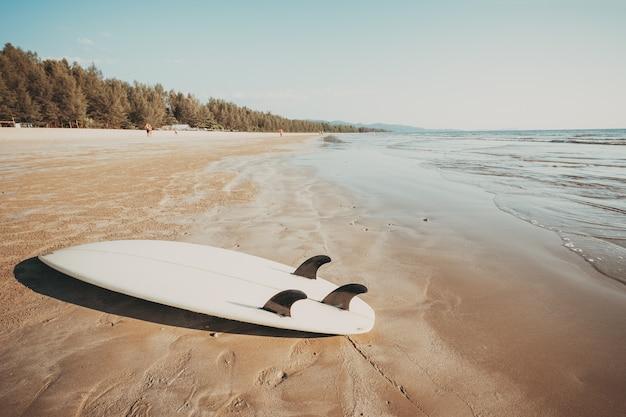Surfbrett auf tropischem strand des sandes mit ruhigem see- und himmelhintergrund des meerblicks.