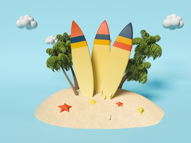 . surfbretter auf sand mit palmen. sommerferienkonzept.