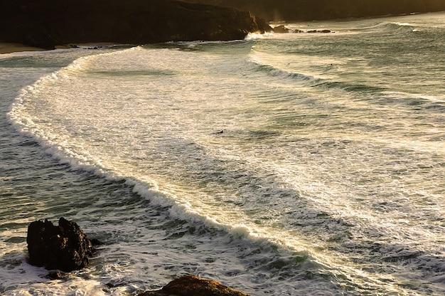 Surfen atlantic water beach galicia ocean lanzada