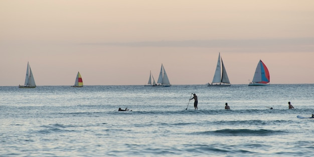 Surfer mit segelbooten im hintergrund, waikiki, honolulu, oahu, hawaii, usa