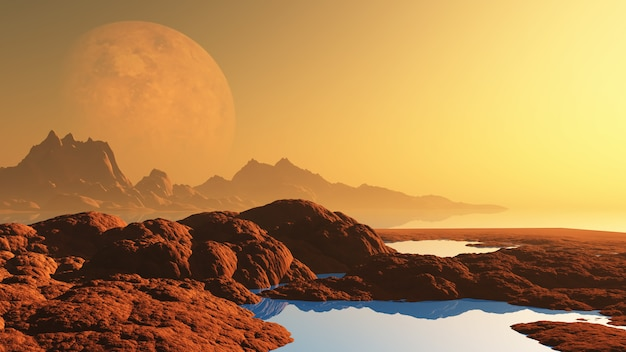Surreale landschaft mit planeten