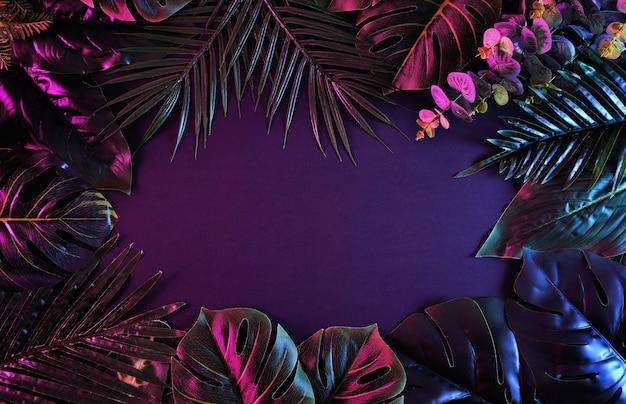 Surrealer stimmungsvoller rahmen mit lebendigen tropischen pflanzen. modernes und trendiges retro-konzept.